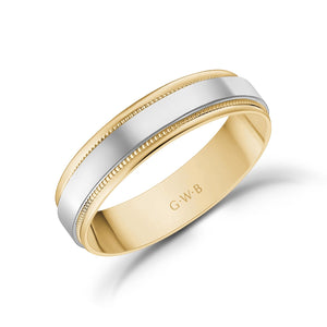 5mm 18K Gold High Polished Flat Milgrain Wedding Band