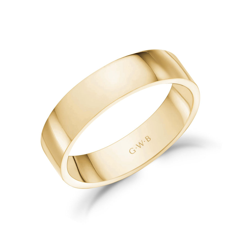 Load image into Gallery viewer, 5mm 18K Gold High Polished Flat Wedding Band