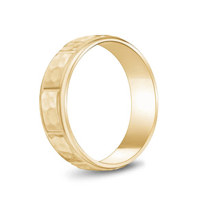 6mm 10K Gold Brushed Center Hammered Wedding Band