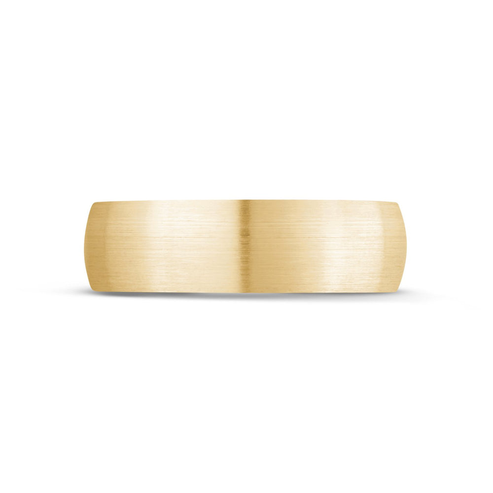 6mm 10K Gold Brushed Dome Wedding Band