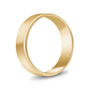 6mm 10K Gold Brushed Flat Beveled Edge Wedding Band