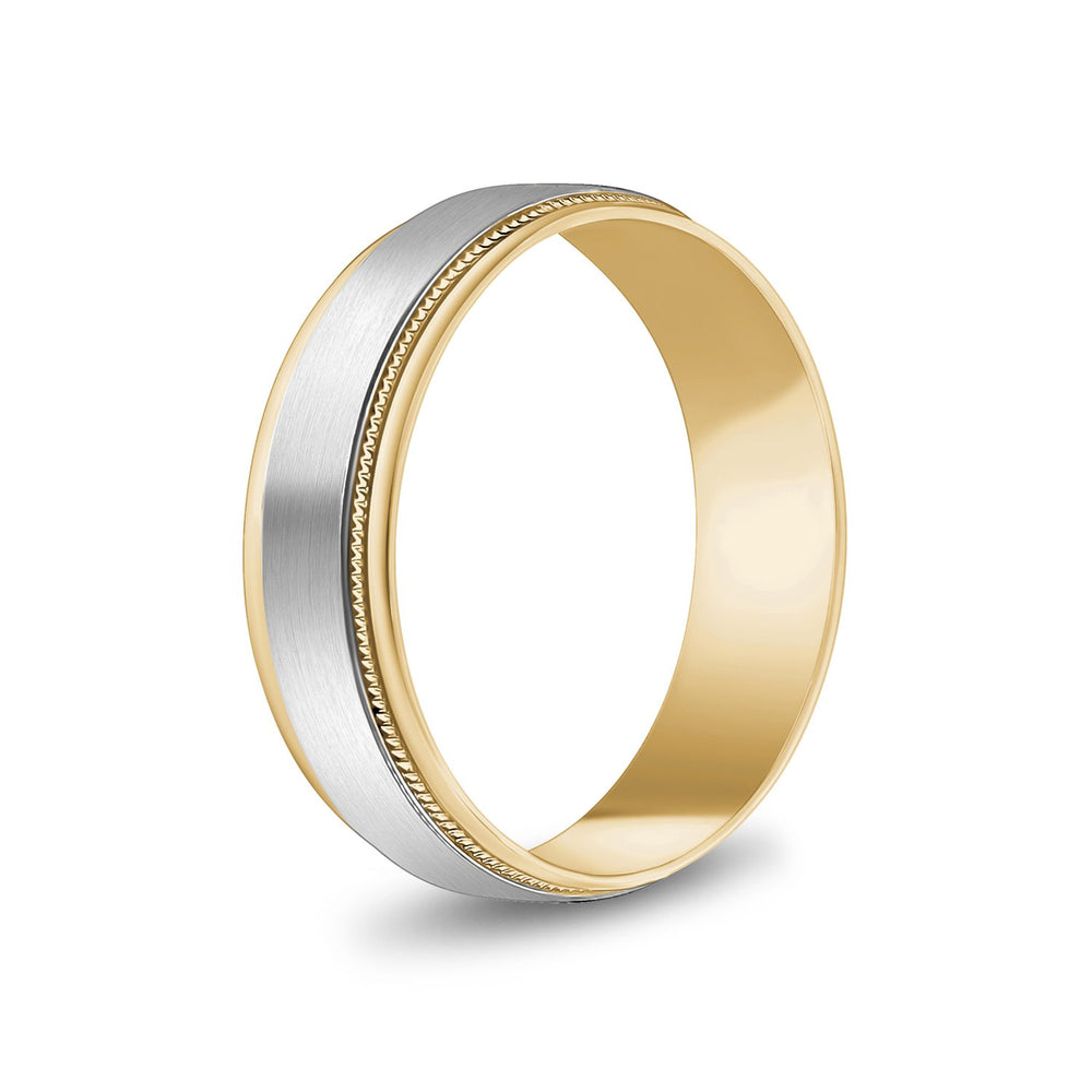 Load image into Gallery viewer, 6mm 10K Gold Brushed Flat Milgrain Wedding Band