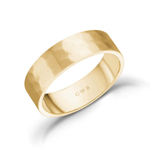 Load image into Gallery viewer, 6mm 10K Gold Brushed Hammered Wedding Band