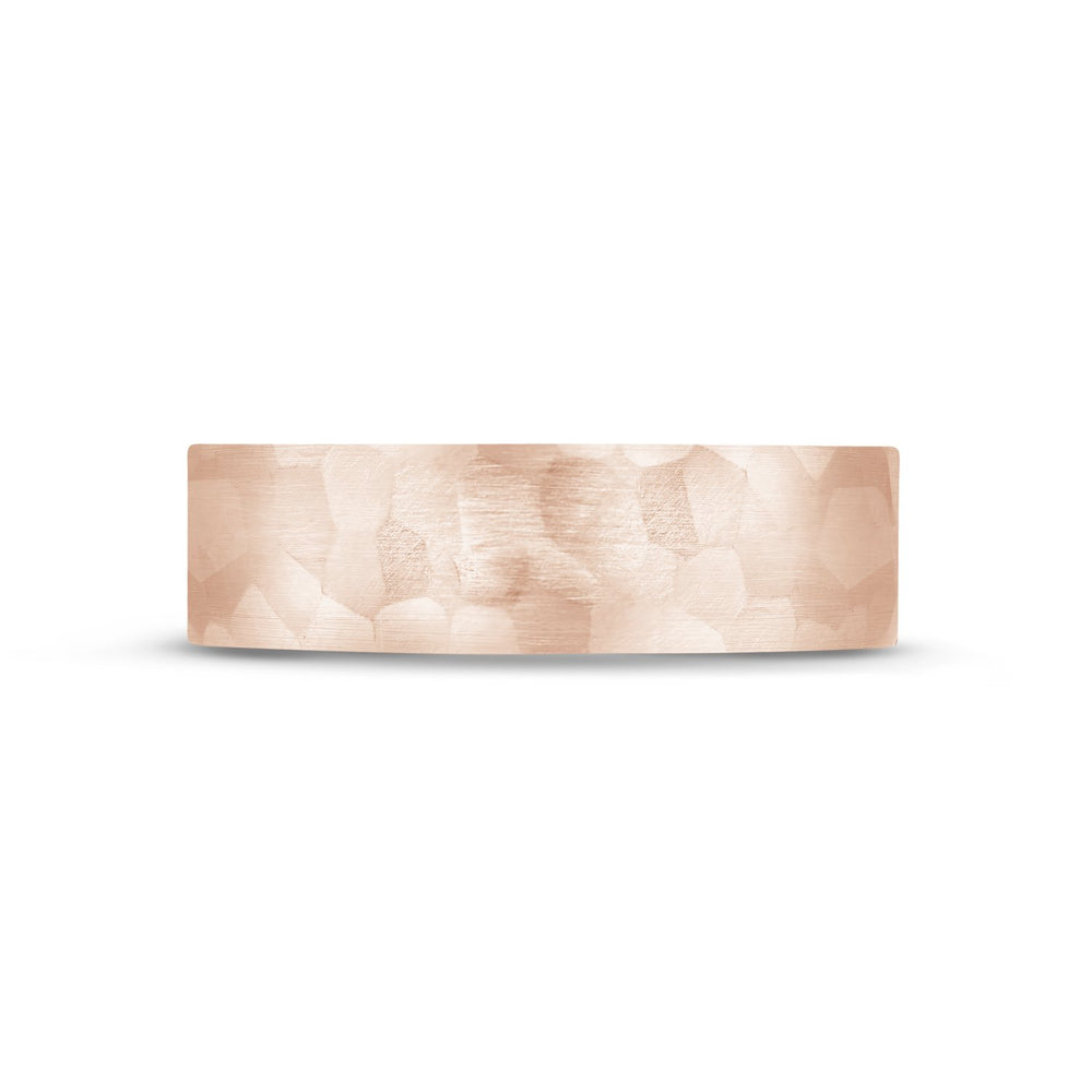 6mm 10K Gold Brushed Hammered Wedding Band