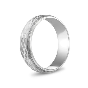 Load image into Gallery viewer, 6mm 10K Gold Double X Design Milgrain Flat Wedding Band