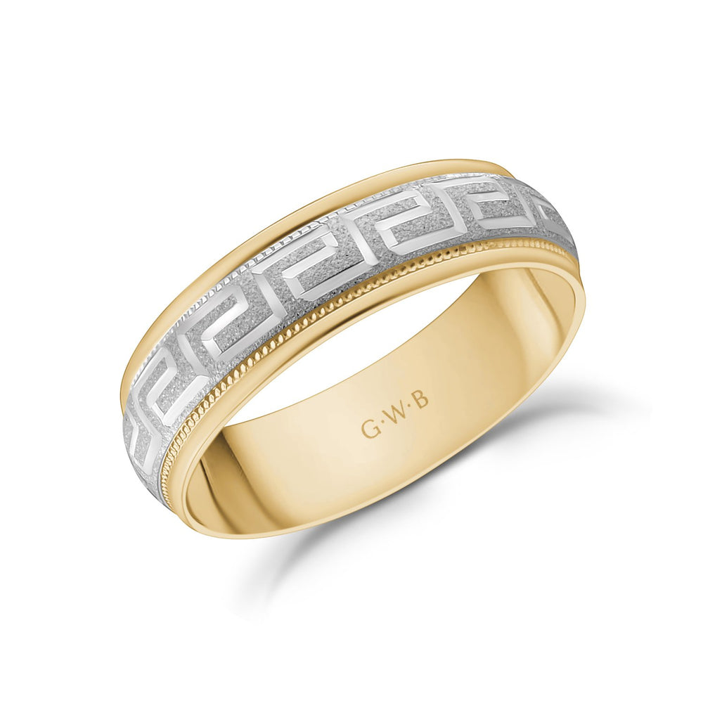 6mm 10K Gold Greek Key Milgrain Dome Wedding Band