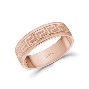 6mm 10K Gold Greek Key Milgrain Flat Wedding Band
