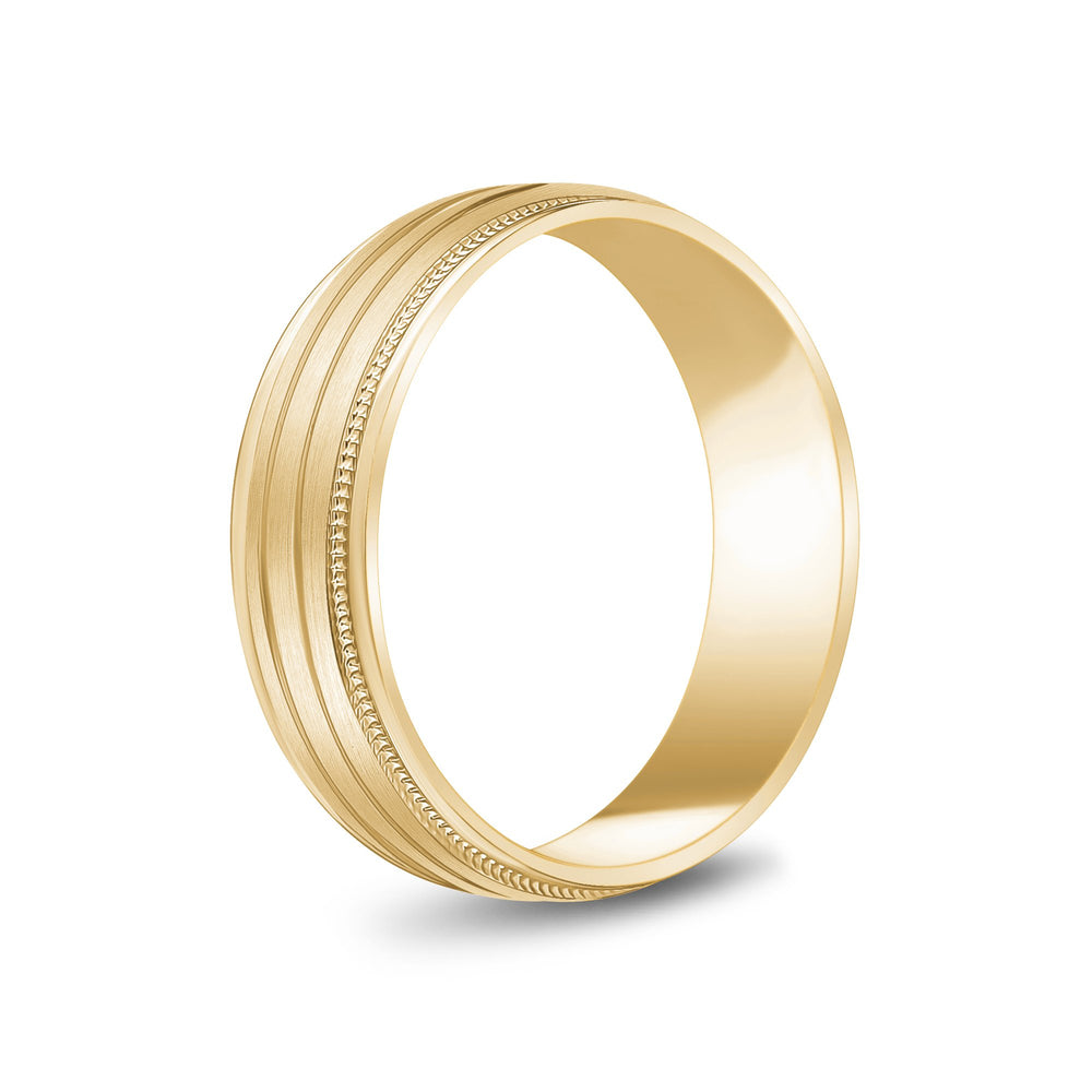 6mm 10K Gold High Polished & Brushed 3 Line Milgrain Wedding Band