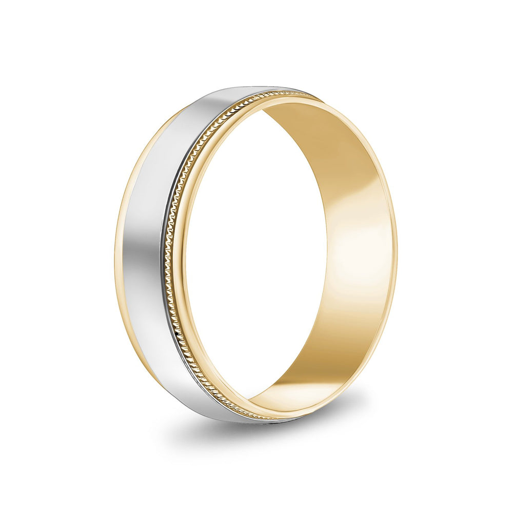 Load image into Gallery viewer, 6mm 10K Gold High Polished Flat Milgrain Wedding Band