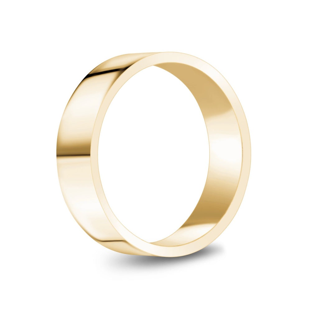 6mm 10K Gold High Polished Flat Wedding Band