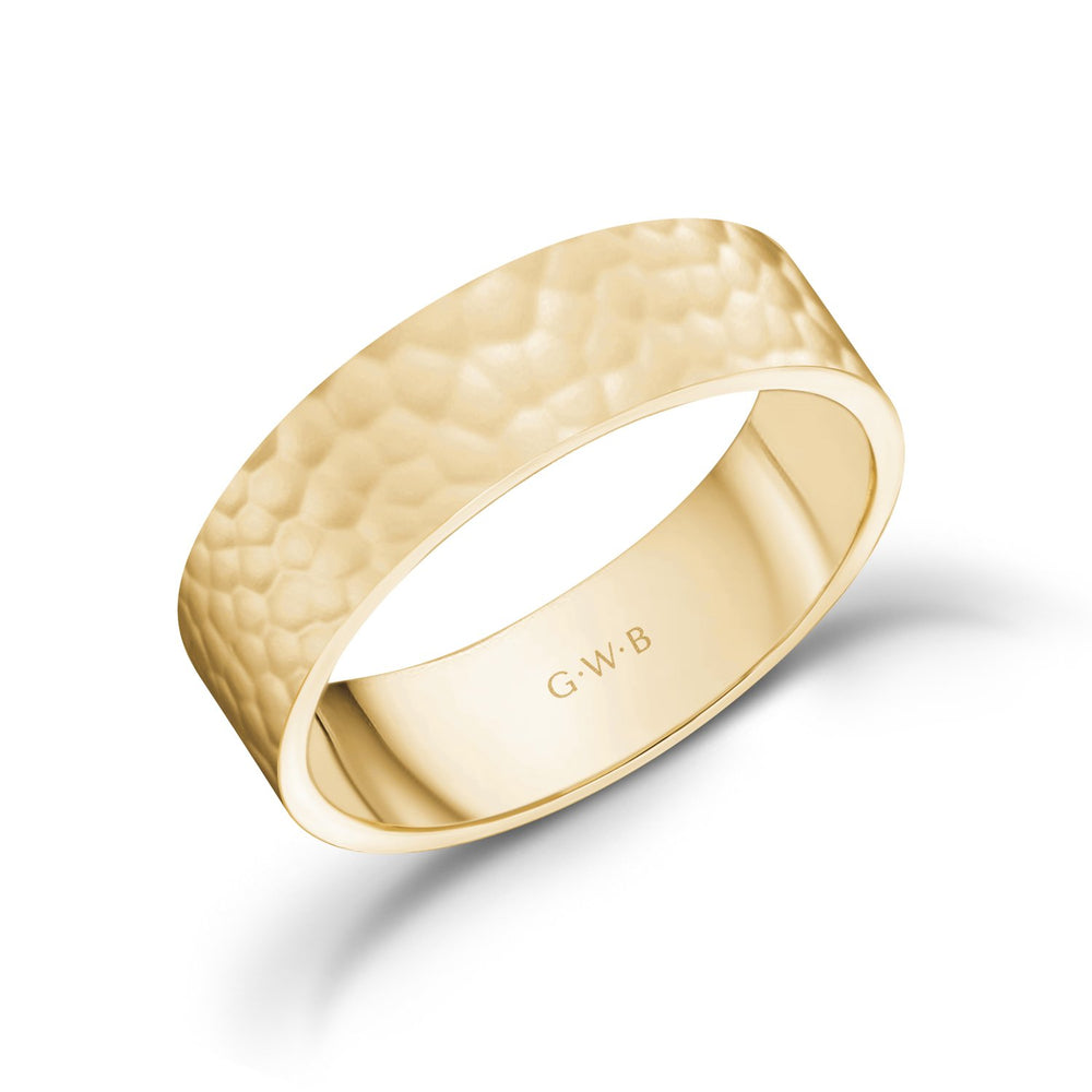 Load image into Gallery viewer, 6mm 10K Gold High Polished Hammered Wedding Band