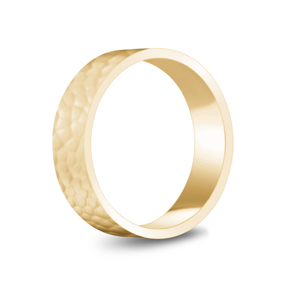 6mm 10K Gold High Polished Hammered Wedding Band