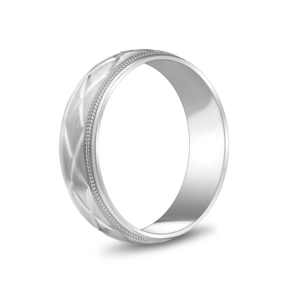 Load image into Gallery viewer, 6mm 10K Gold X Design Milgrain Flat Wedding Band
