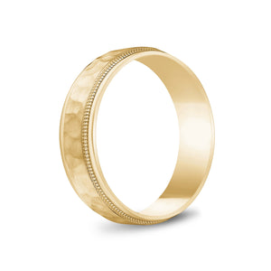 6mm 14K Gold Brushed Center Hammered Milgrain Wedding Band