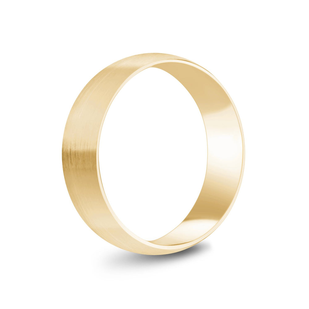 6mm 14K Gold Brushed Dome Wedding Band