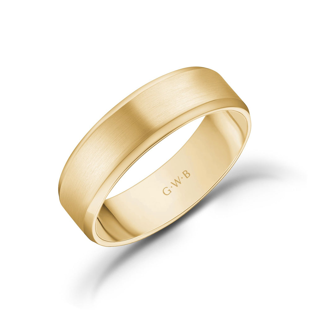 Load image into Gallery viewer, 6mm 14K Gold Brushed Flat Beveled Edge Wedding Band