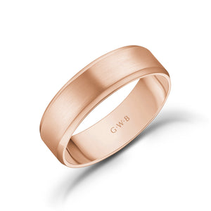 6mm 14K Gold Brushed Flat Beveled Edge Wedding Band