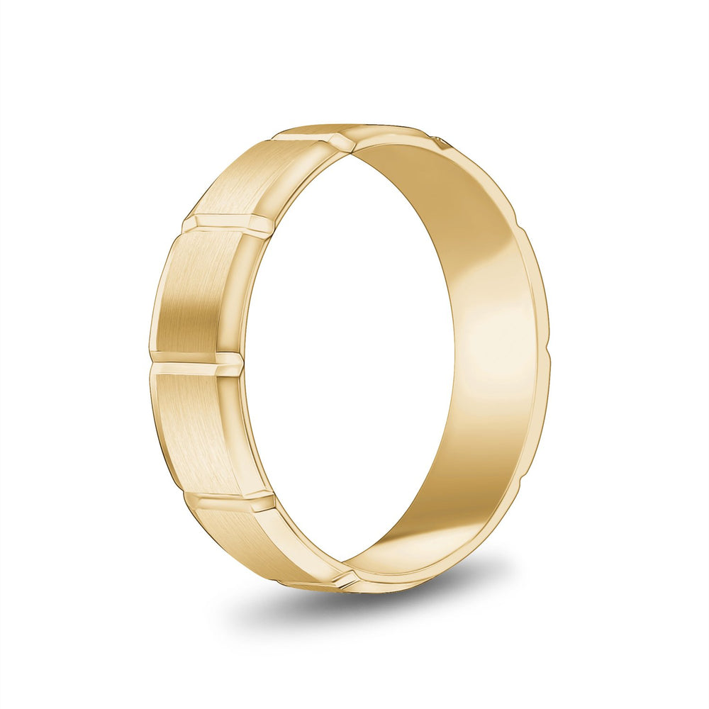 6mm 14K Gold Brushed Flat Beveled Wedding Band