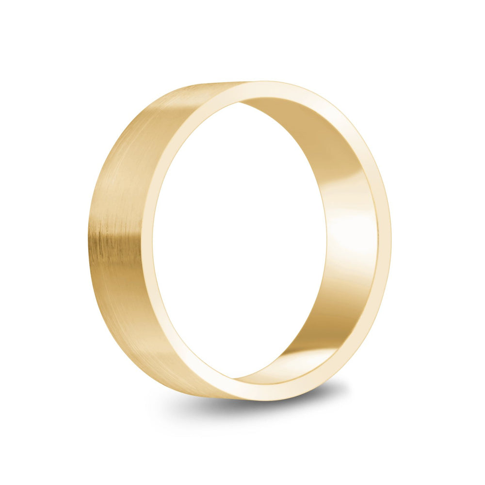 6mm 14K Gold Brushed Flat Wedding Band