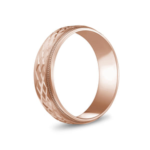 Load image into Gallery viewer, 6mm 14K Gold Double X Design Milgrain Flat Wedding Band