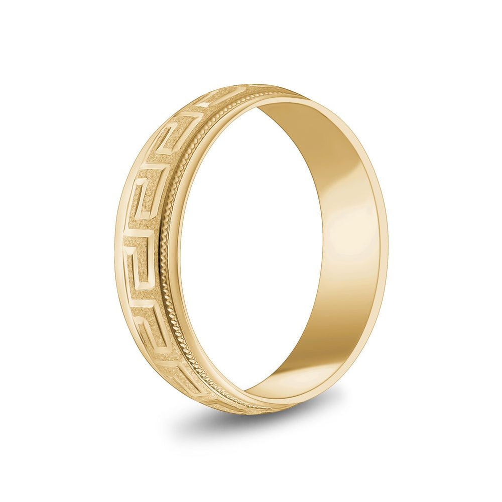Load image into Gallery viewer, 6mm 14K Gold Greek Key Milgrain Dome Wedding Band
