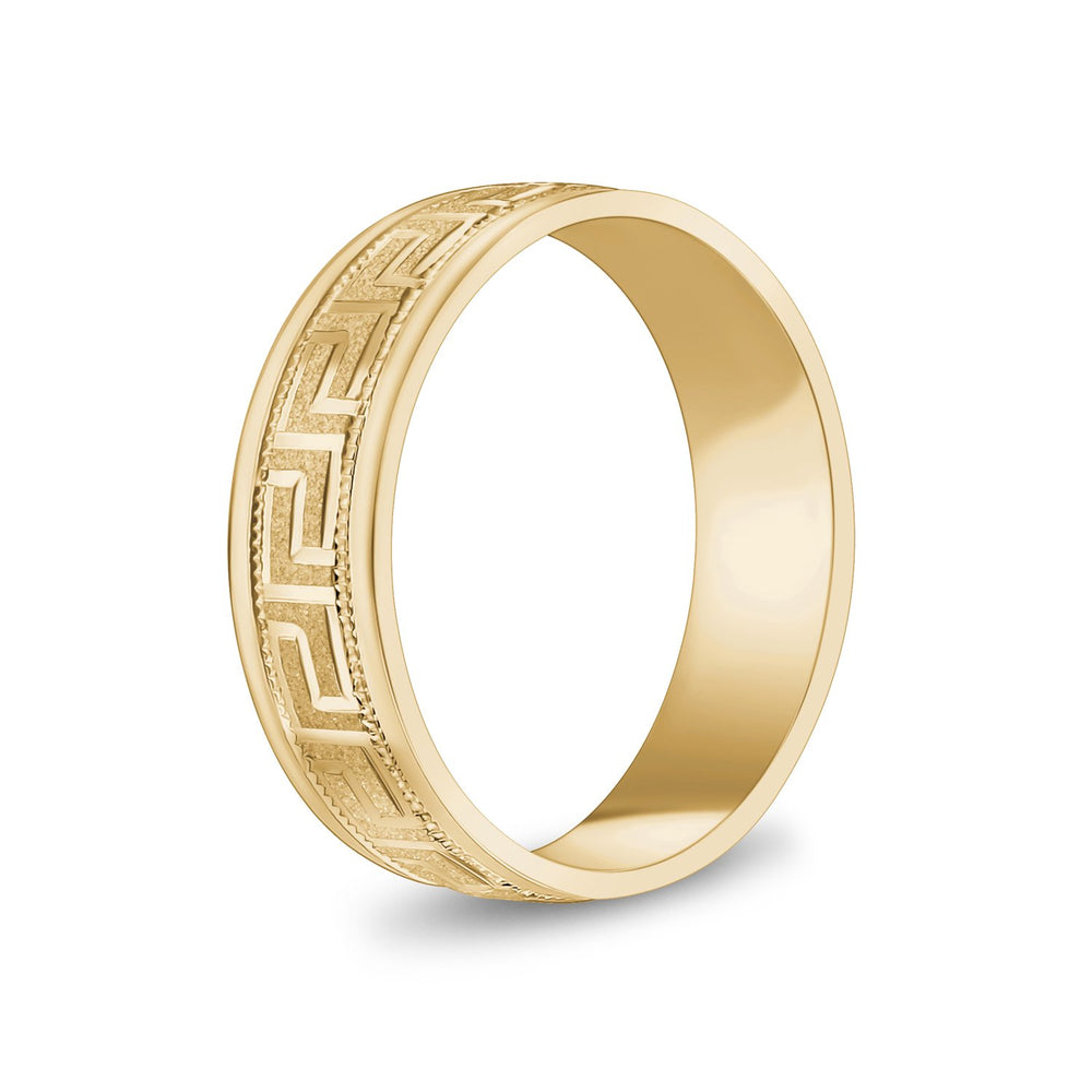 Load image into Gallery viewer, 6mm 14K Gold Greek Key Milgrain Flat Wedding Band