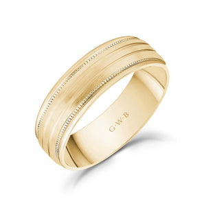 6mm 14K Gold High Polished & Brushed 3 Line Milgrain Wedding Band