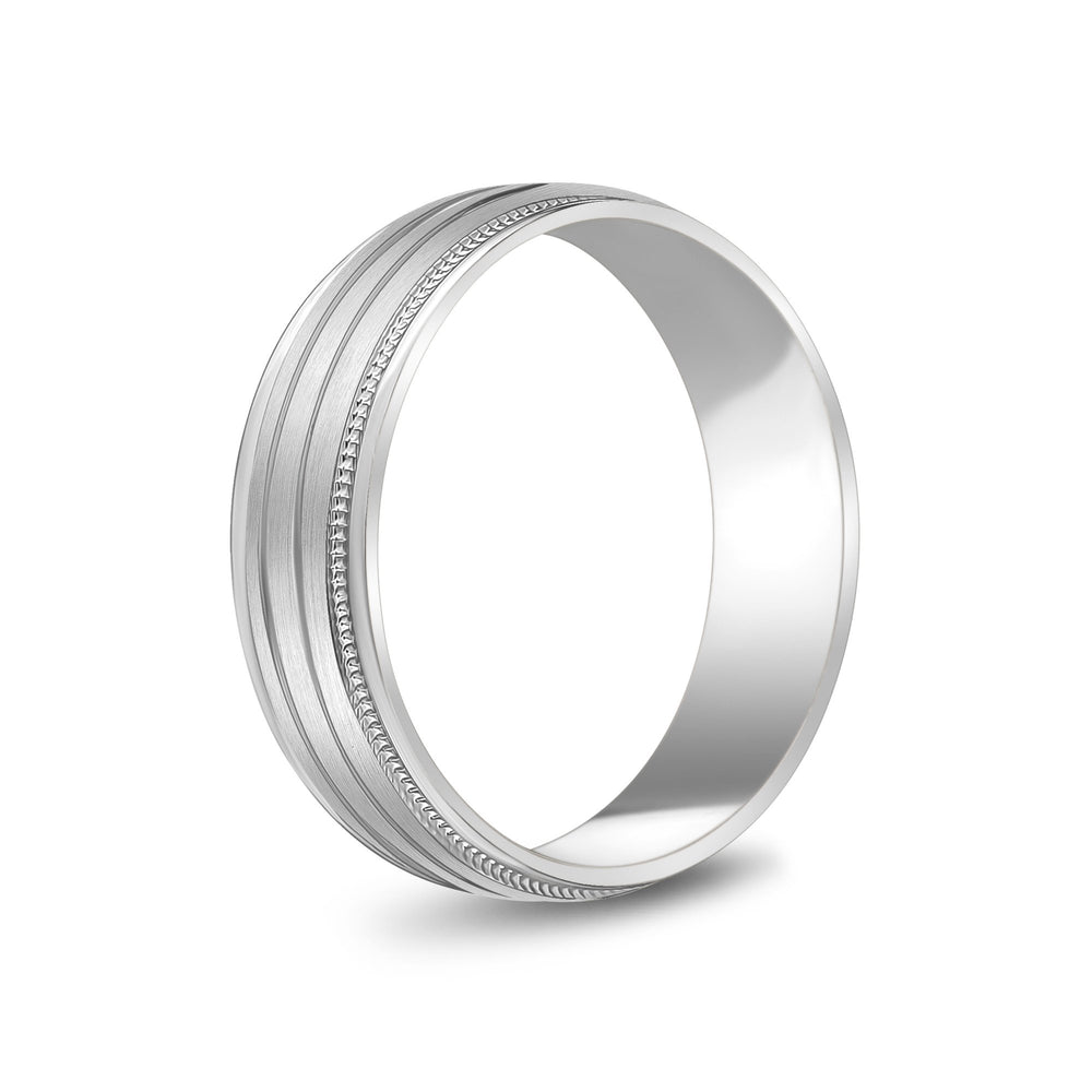 Load image into Gallery viewer, 6mm 14K Gold High Polished & Brushed 3 Line Milgrain Wedding Band