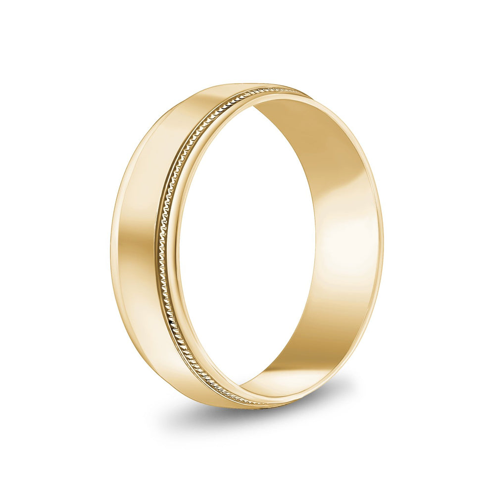 6mm 14K Gold High Polished Flat Milgrain Wedding Band
