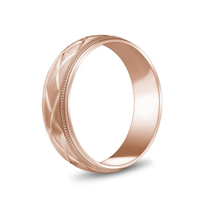6mm 14K Gold X Design Milgrain Flat Wedding Band
