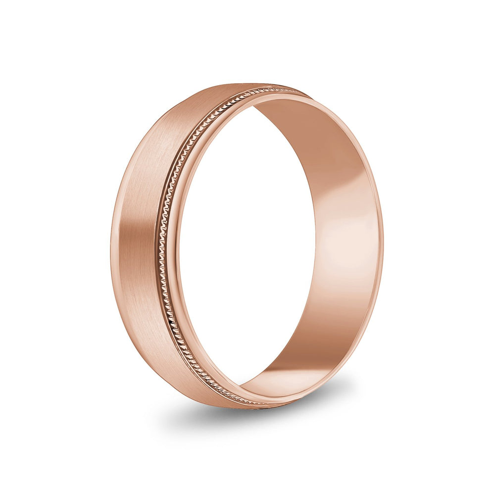 6mm 18K Gold Brushed Flat Milgrain Wedding Band