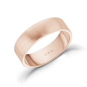6mm 18K Gold Brushed Flat Wedding Band