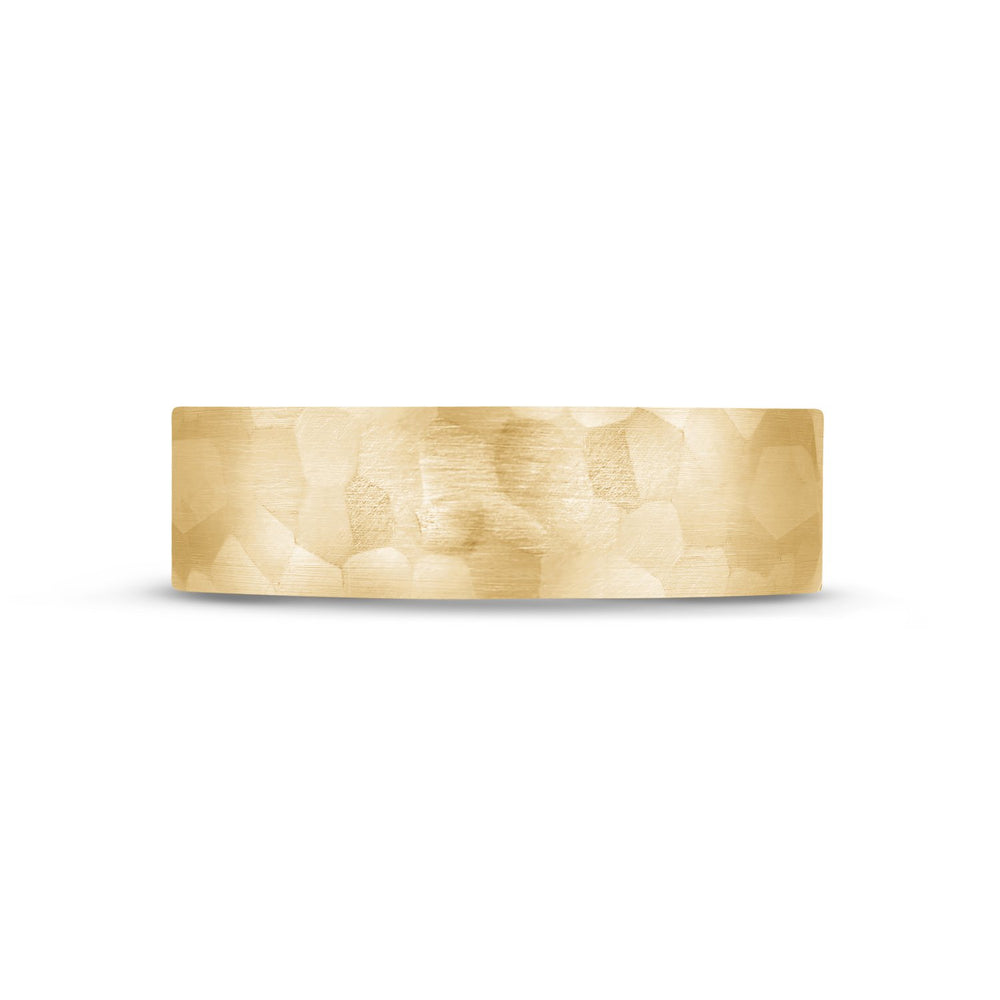 Load image into Gallery viewer, 6mm 18K Gold Brushed Hammered Wedding Band