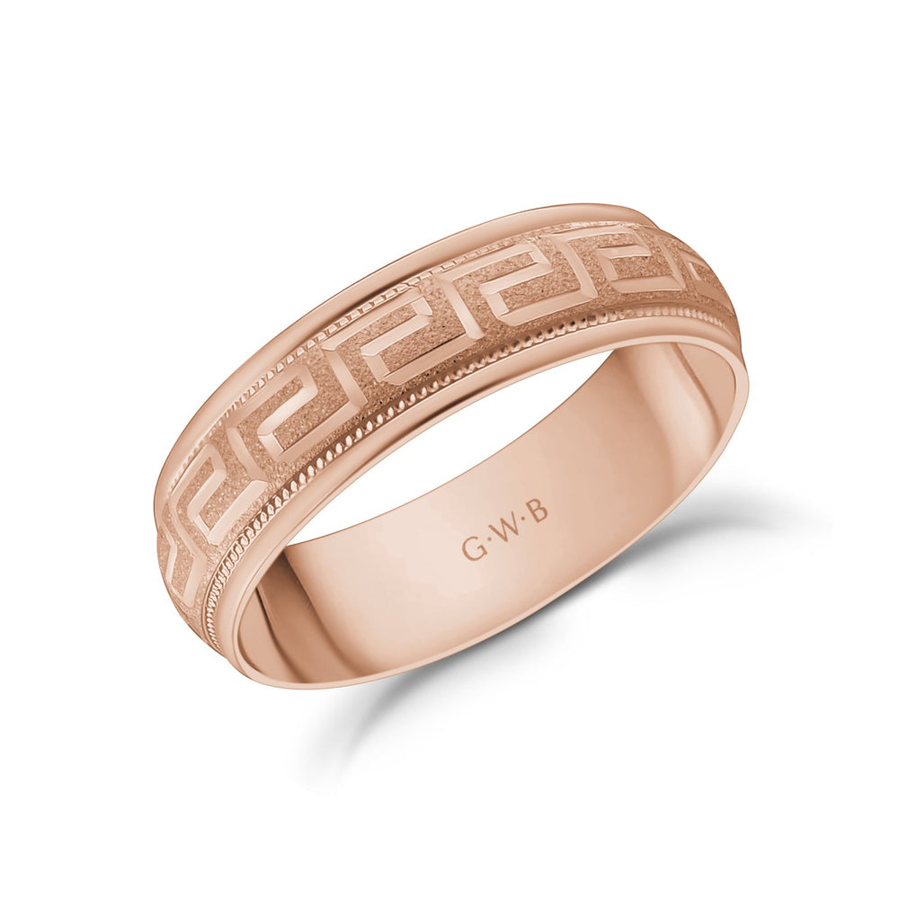 6mm 18K Gold Greek Key Milgrain Dome Wedding Band