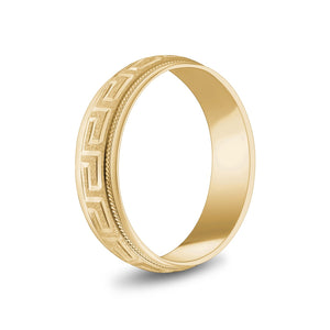 Load image into Gallery viewer, 6mm 18K Gold Greek Key Milgrain Dome Wedding Band