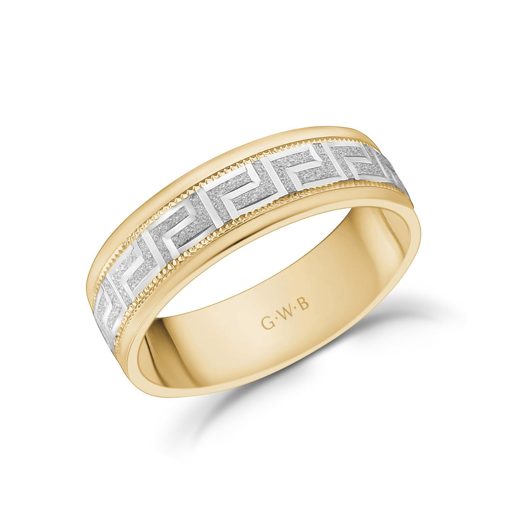 Load image into Gallery viewer, 6mm 18K Gold Greek Key Milgrain Flat Wedding Band