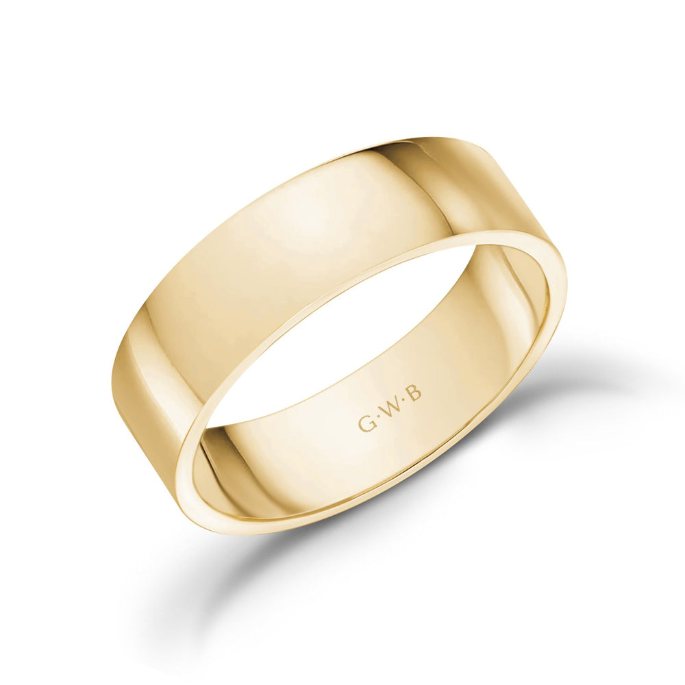 6mm 18K Gold High Polished Flat Wedding Band