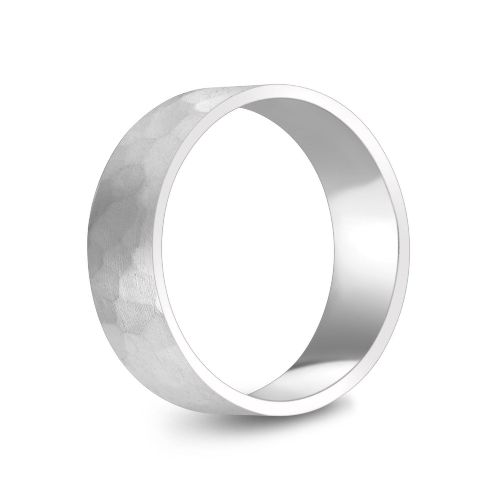 7mm 10K Gold Brushed Hammered Wedding Band