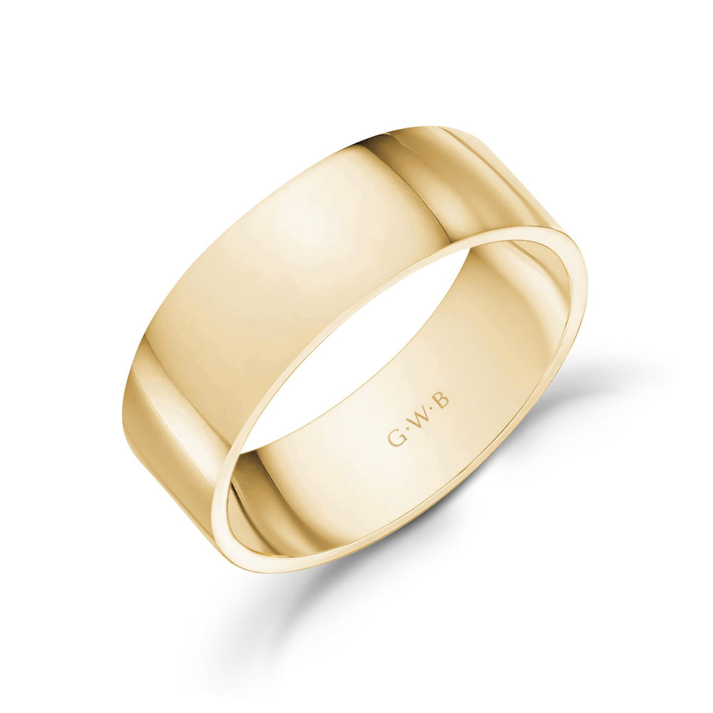 7mm 10K Gold High Polished Flat Wedding Band