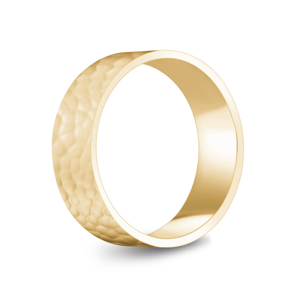 Load image into Gallery viewer, 7mm 10K Gold High Polished Hammered Wedding Band