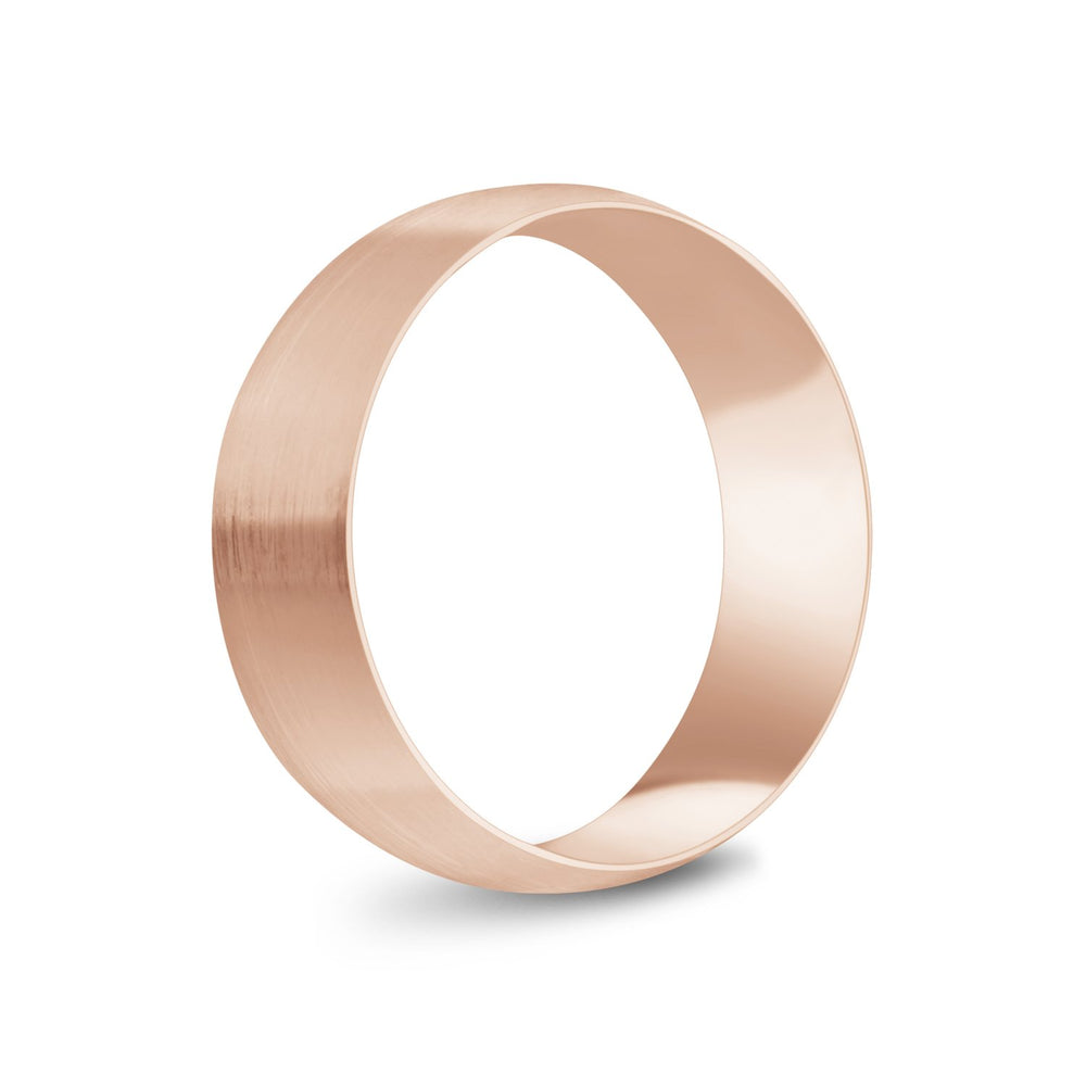 7mm 14K Gold Brushed Dome Wedding Band