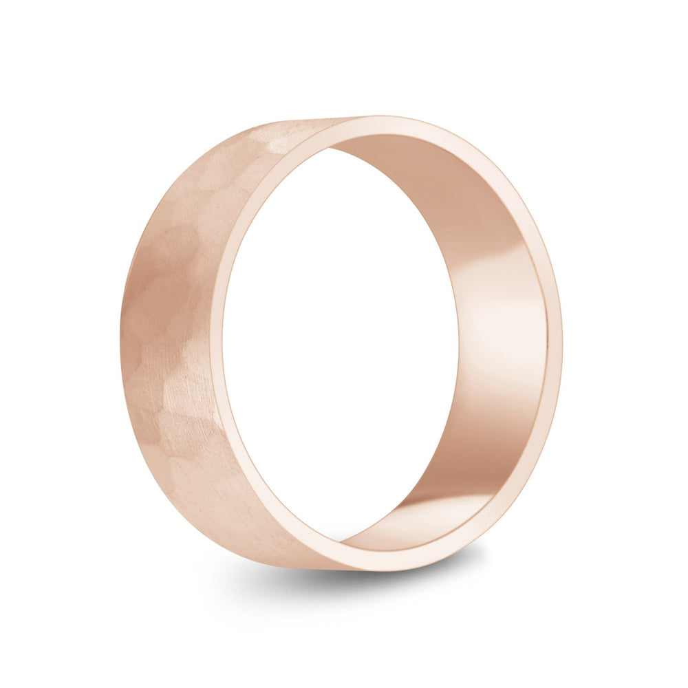 7mm 14K Gold Brushed Hammered Wedding Band