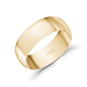7mm 14K Gold High Polished Dome Wedding Band