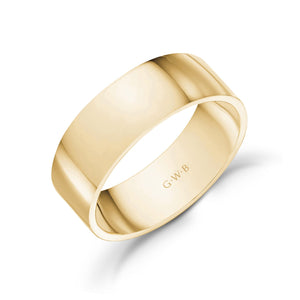 7mm 14K Gold High Polished Flat Wedding Band