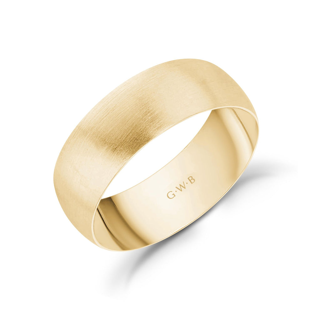 7mm 18K Gold Brushed Dome Wedding Band