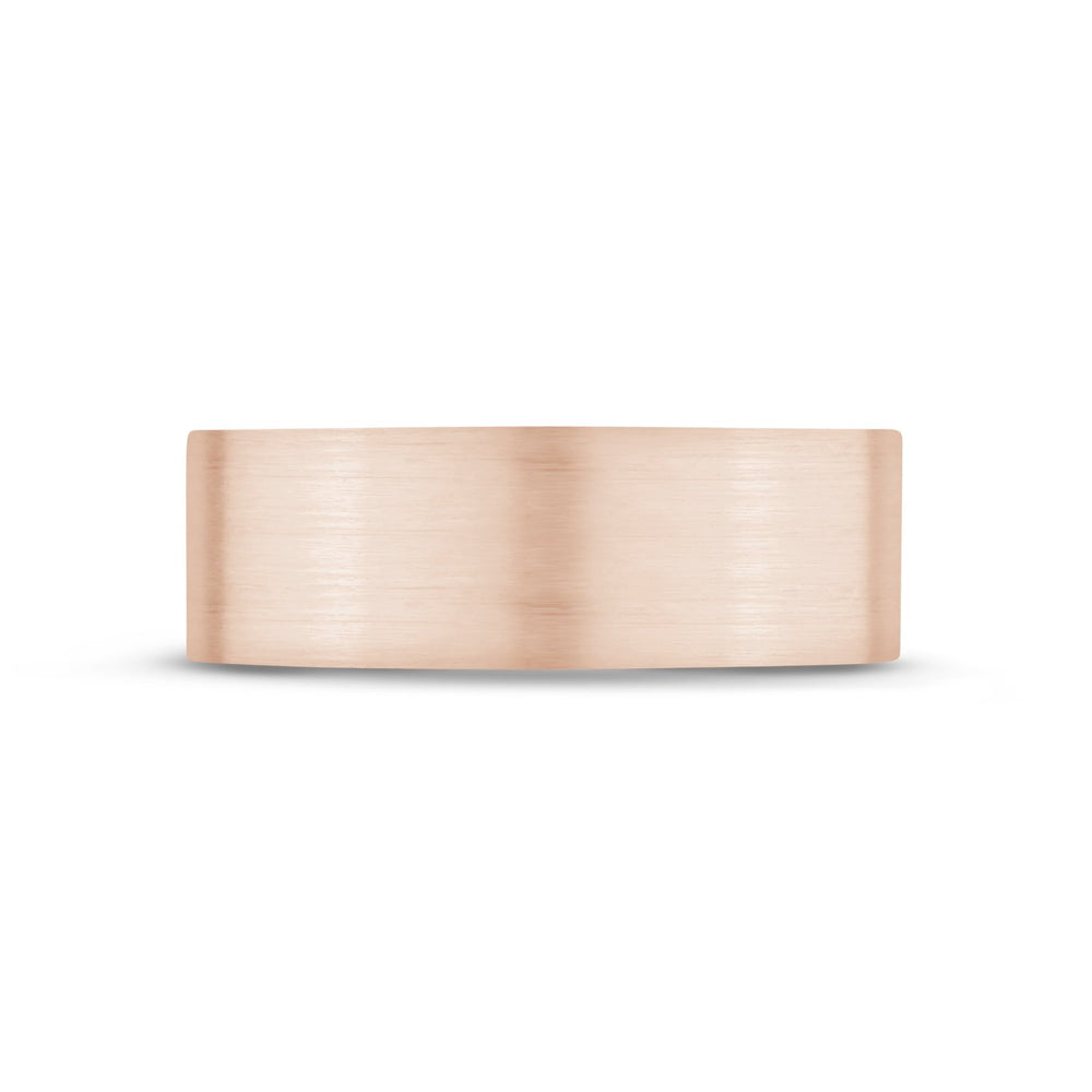 7mm 18K Gold Brushed Flat Wedding Band