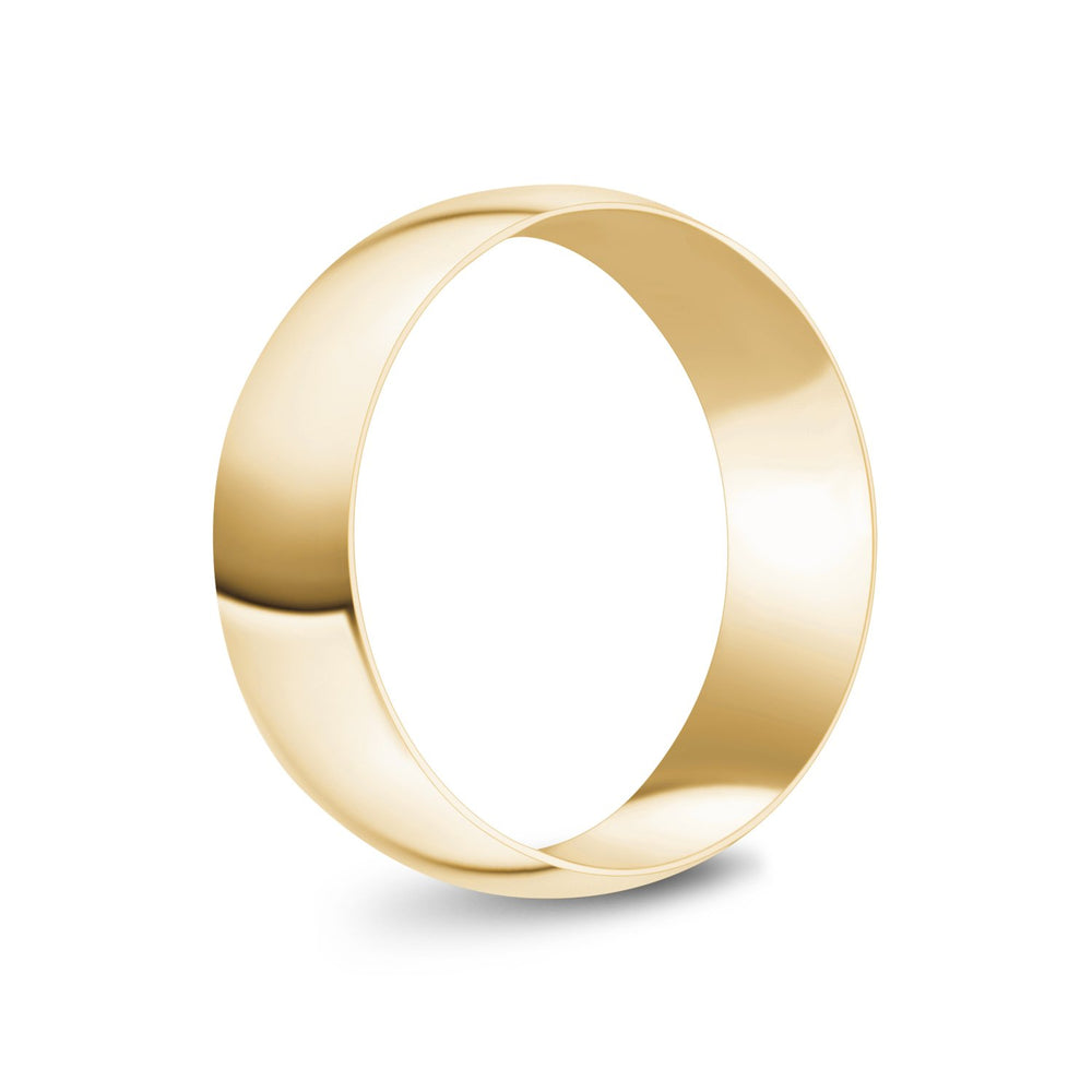 7mm 18K Gold High Polished Dome Wedding Band