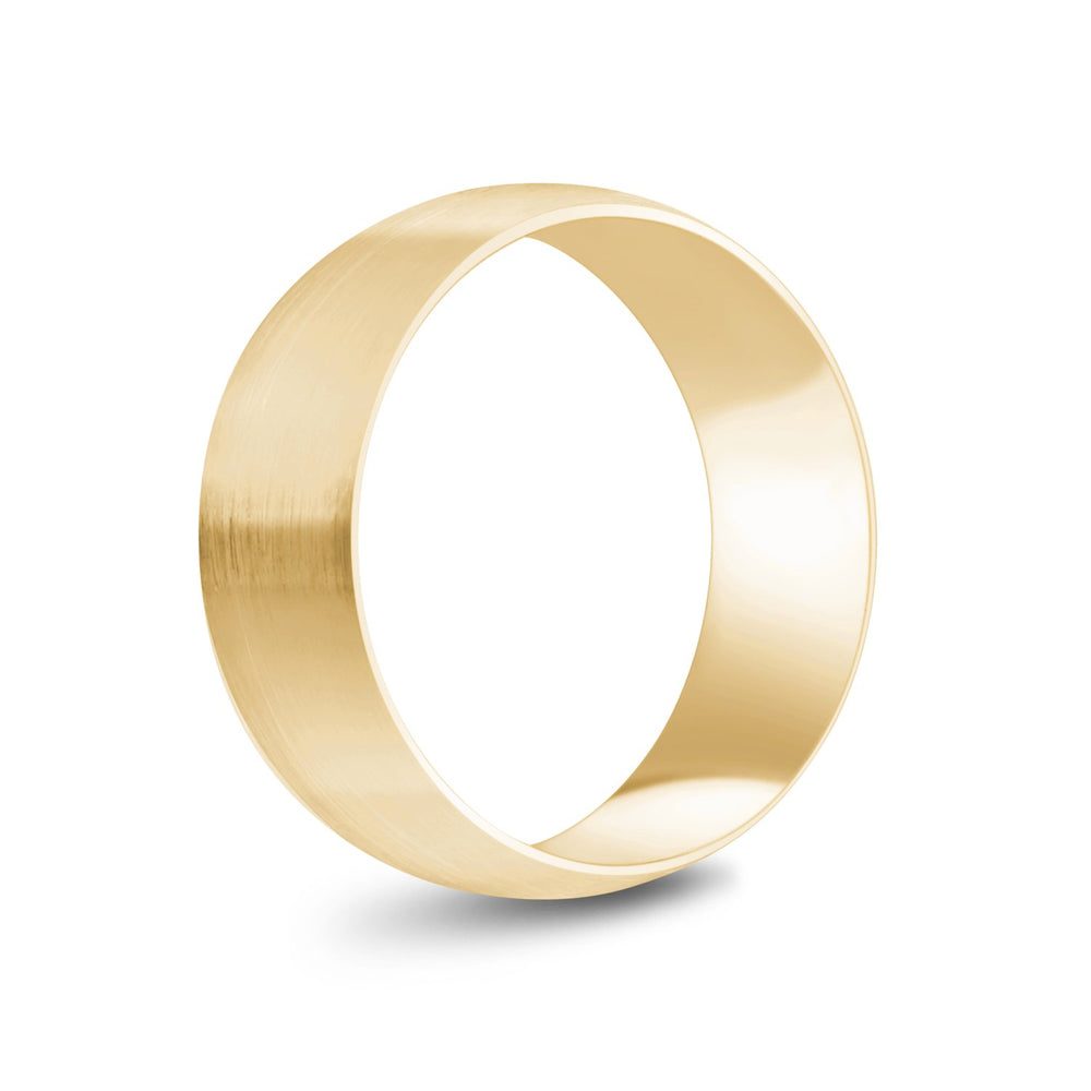 8mm 10K Gold Brushed Dome Wedding Band