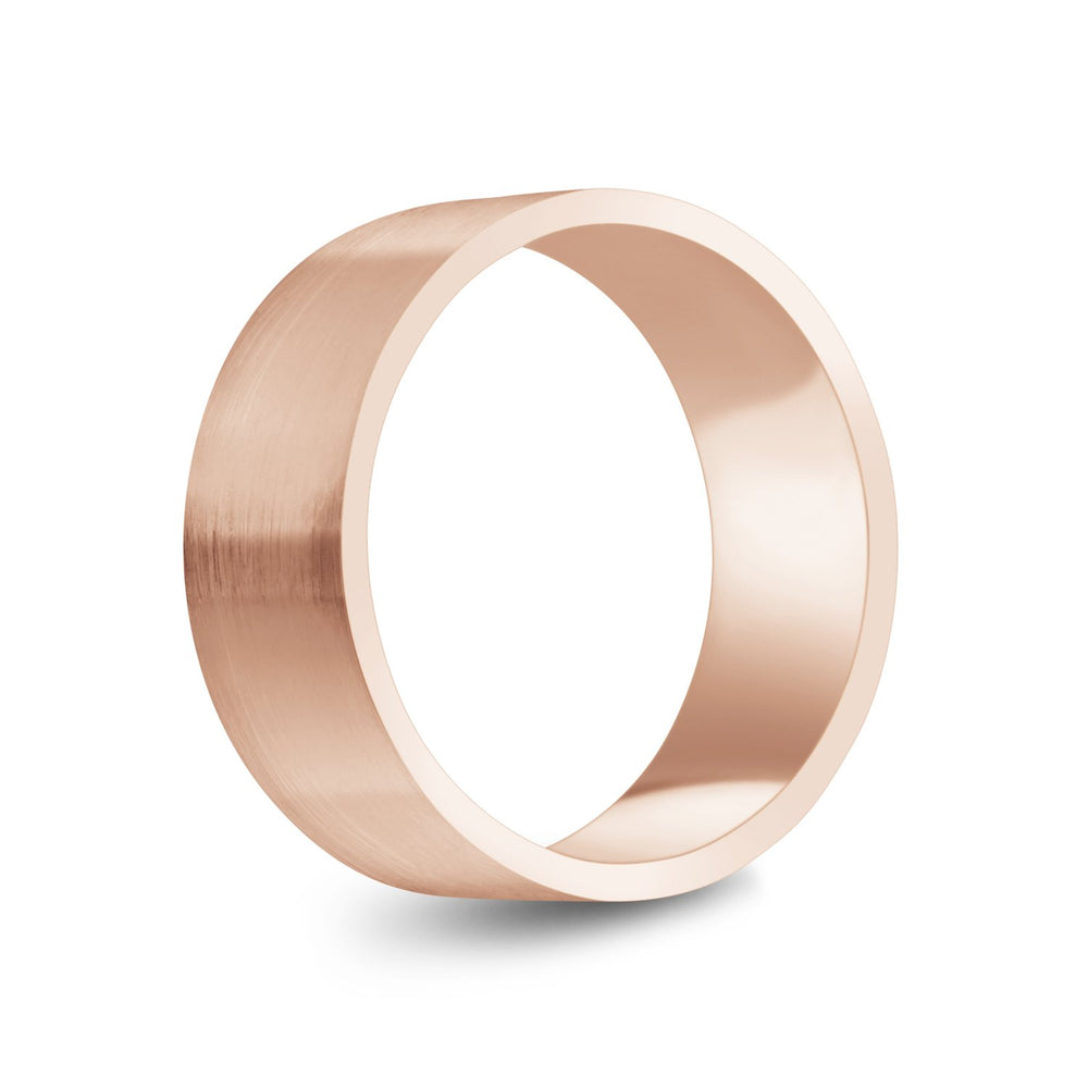 8mm 10K Gold Brushed Flat Wedding Band