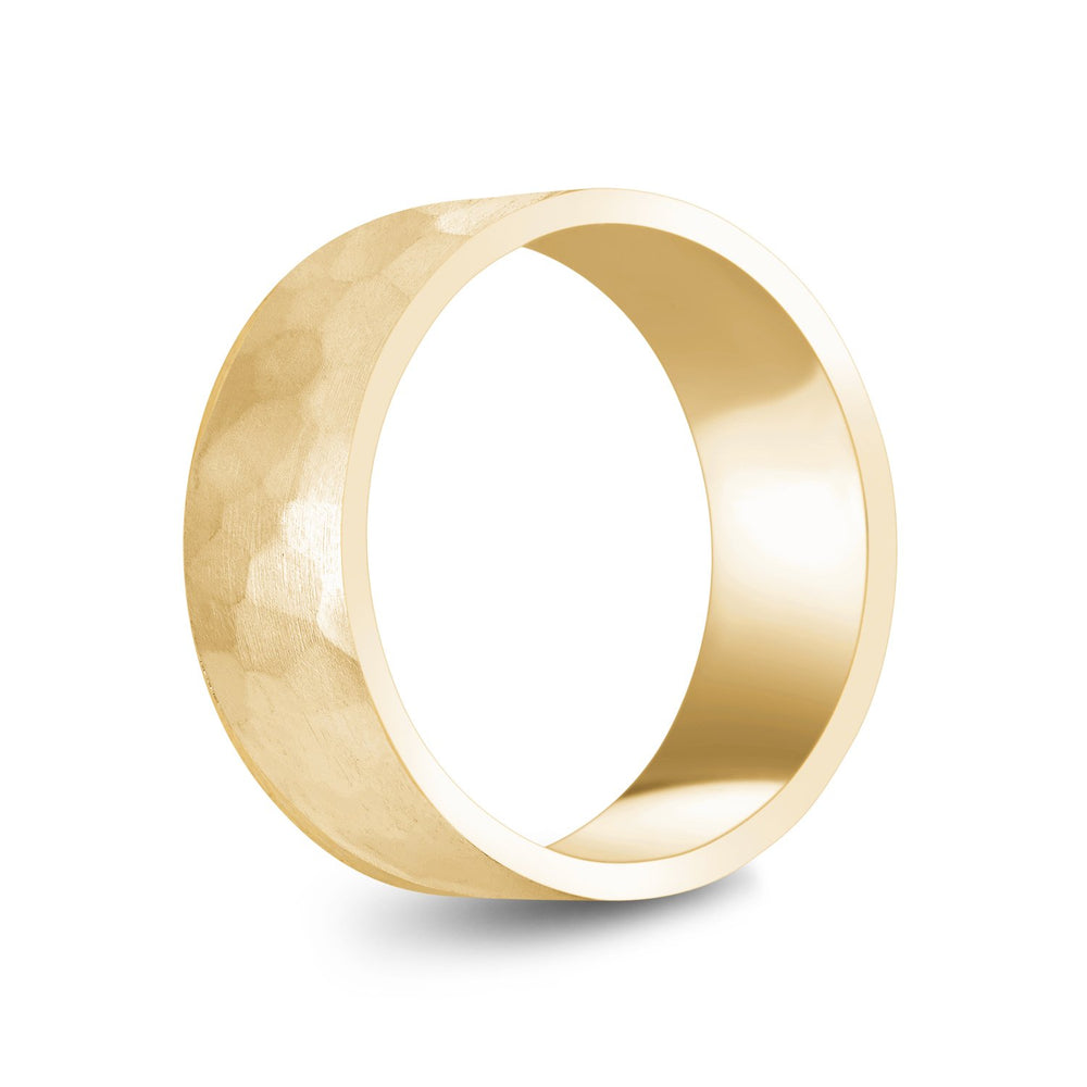 8mm 10K Gold Brushed Hammered Wedding Band